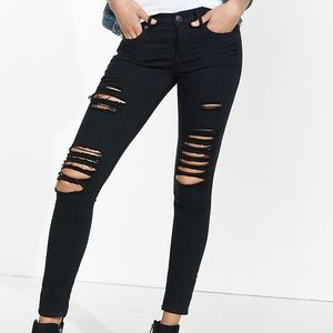 Express Black Distressed Mid Rise Jeans